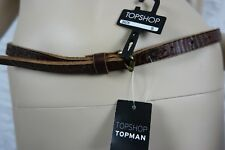 TOPSHOP topman tan brown 100% leather tooled skinny slim belt size S BNWT