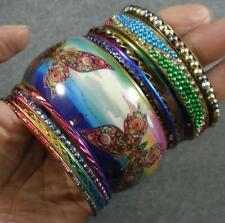 Butterfly Resin Crystal Steel Aluminum Brass Rainbow 12 Bangle Bracelet Set