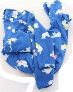 Lands' End G FLEECE FOOTED SLEEPER Cobalt Blue Bears 12 # 476680