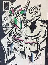 Technique mixte encre aquarelle expressionniste circa 1960
