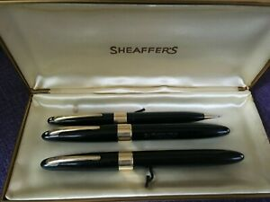 SHEAFFER PEN SET: FOUNTAIN PEN--BALLPOINT PEN--MECHANICAL PENCIL--FROM 1940S