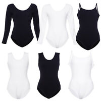 Womens Leotard Long Sleeve Strappy Stretch Bodysuit Camisole Body Top Tshirt