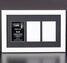 3 Opening Glass Face 10x16 White Picture Frame Holds 4x6 Media Black Collage Mat