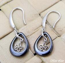925 Silver Rhodium Hawaiian Plumeria Flower Black Ceramic Tear Drop Earrings