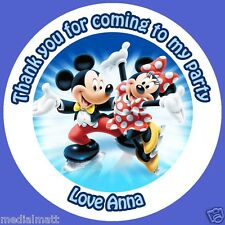 Personalised Mickey and Minnie Mouse 35 x Stickers Birthday Party Thank you