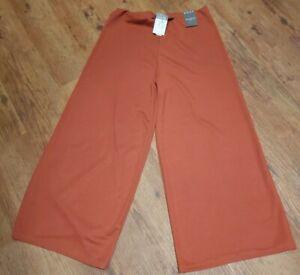 Ladies Wide Leg Pallazo Trousers Primark Size 12 Burnt Orange BNWT