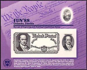 1988 BEP Orlando FL original die Fractional Currency NSC39, SCCS: B-112 FUN '88