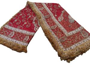 Vintage Heavy Dupatta Net Mesh Red Hand Beaded Zardozi Work Wedding Scarf Stole