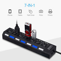 7 Port USB 2.0 Charger Hub High Speed Adapter On/Off Switches for Laptop Mac PC