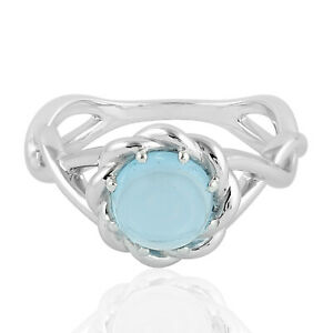 Gift For Her Handmade Blue Topaz Gemstone Twisted 925 Sterling Silver Ring