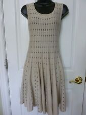 Modcloth MAK Sweater Dress, Tan & Black, Size S, Fit & Flare, A-line NWOT   C5T