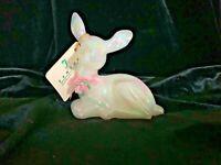 Fenton Art Glass Mother of Pearl Fawn Deer Pink Ribbon Porcelain Rose