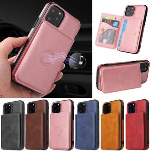 For iPhone 12 11 Pro Max XR XS Max 6 7 8 Plus Slim Leather Card holder Back Case