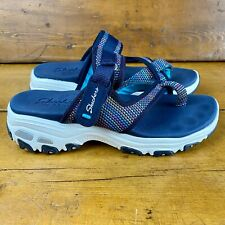 Skechers Women's Reggae - Thong Sandal Multi Rainbow Navy Size 8 Excellent Cond.
