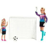Barbie Team Stacie Doll & Chelsea Doll Soccer Goal Playset Sports Barbie