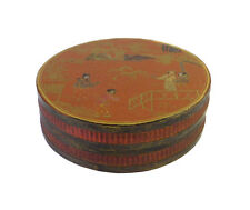 Chinese Brown Lacquer Scenery Painting Round Box cs1649