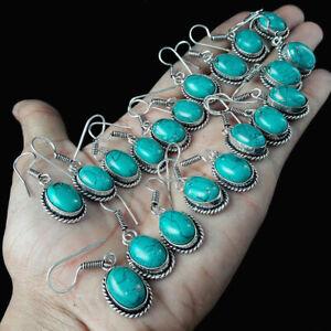 Turquoise Gemstone Earring 5 Pair 925 Sterling silver Plated Handmade Earrings