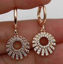 Hollow Topaz Evening Prom Women Earrings 18K Gold Filled - Zircon Gemstone Round