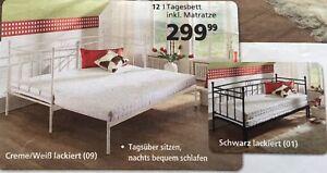 Neu Ausziehbares Bett Metallbett Tagesbett weiß ohne Matratze 90/180 x 200 cm