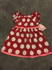 Circo Dress Size 18 MonthS Red With White Polka Dots Pink Trim NWT