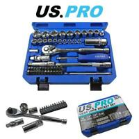 "US PRO Tools 52pc 1/4"" & 3/8"" Dr Gear Lock Socket Set 4 - 19mm + Bit Set 3274"