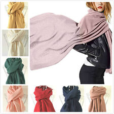 Womens Solid Plain Unisex Scarf Pashmina Shawls Winter Warm Scarves Soft Poncho