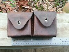 VTG 1930 SWISS ARMY LEATHER SET DOUBLE CARTRIDGE AMMO POUCH SCHMIDT RUBIN