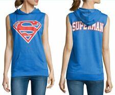 DC Superman Sleeveless Hoodie Blue Fleece Sweatshirt - Juniors XL - New w/Tags!