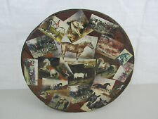 "Large Vintage Round Wooden Hat/Storage Box Horse Photo's Design 15 1/2"" Wide"