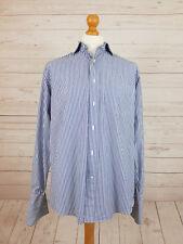 NEXT Original Mens Long Sleeve Blue & White Stripe Double Cuff Shirt 15.5 Collar