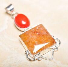 "Handmade Calcite Jasper Gemstone 925 Sterling Silver Pendant 2.5"" #P14527"