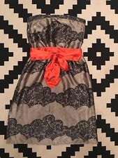 Topshop Lace Printed Dress Wedding Races Silky Strapless Elastic Waist Size 6