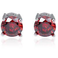 18K Gold & - Round Cut Ruby Stud Earrings 1.1g (122018)