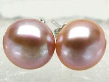 Big 12-13mm Genuine Lavender Akoya Cultured Bread Pearl Silver Stud Earrings AAA