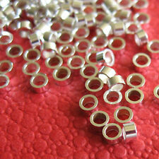 100 Solid Sterling Silver Crimp Tube Beads - 2mm X 1mm - Wholesale Beads