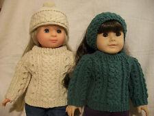 "18"" Doll Knitting Pattern fits American Girl Irish Fisherknit w/Hat & Headband"