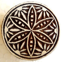 Floral Design Round Wooden Printing Block/Stamp Textile Fabric Printing Tattoo
