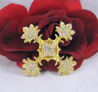 Vintage Ornate Gold tone Rhinestone Pin CAT RESCUE