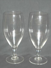 Two 15 Ounce oz Crystal Stemmed Tear Drop Beer Glasses