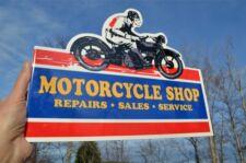 OLD STYLE MOTORCYCLE SHOP REPAIRS SALES MOTOR BIKE DICUT FLANGE SIGNMADE IN USA