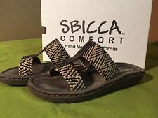 Sbicca Comfort Roundabout Brown Natural Women's 7M Slide Sandal