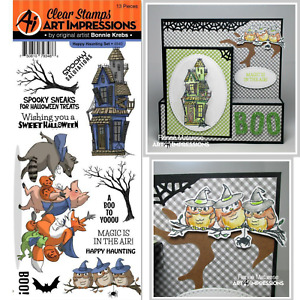 Halloween Stamps Haunted House, Spooky Trees, Art Impressions Happy Haunting Set