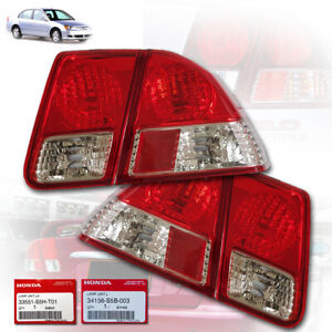 FOR HONDA CIVIC DIMENSION ES 2001-2005 REAR LAMP TAIL LIGHT PAIR CLEAR RED ABS