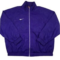 VTG Nike Team Mens XL X-Large Windbreaker Jacket Purple White Swoosh