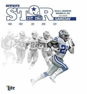 2020 Dallas Cowboys vs Washington Redskins PDF 156 page Star Program 11/26