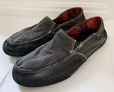 SANUK Men's Shoes Sz 11 Canvas Gray Vagabond Beach Loafers Woven Interior
