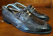 Men Giorgio Brutini Brown Genuine Snake Skin Oxford Golden Detail Shoes Size 9 M