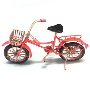 Vintage tin plate tin model pink bicycle  metal model retro small 17cm