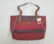 Women's Relic Red Multi-Stripe Emma Saddle Tote Handbag Purse, 2 Sizes in 1
