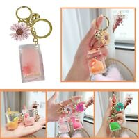 Cute Floating Liquid Keyring Clear Fruit Bottle Charm Design For Phones Handbag